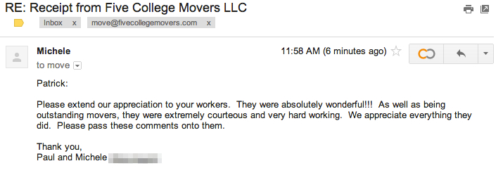 Five College Movers Local Moving Review